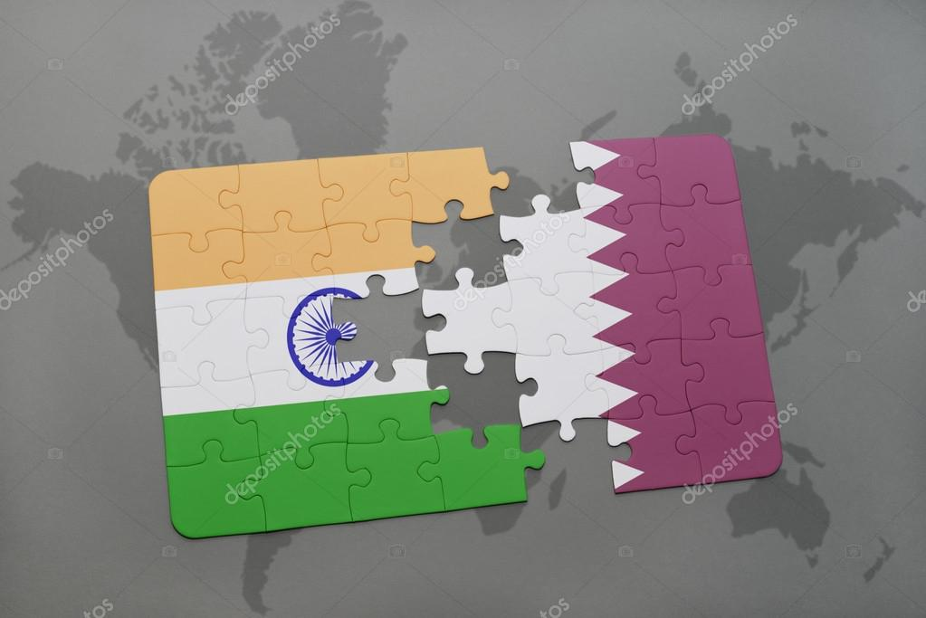 Puzzle with the national flag of india and qatar on a world map puzzle with the national flag of india and qatar on a world map background gumiabroncs Images