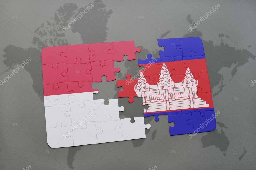 Puzzle with the national flag of indonesia and cambodia on a world puzzle with the national flag of indonesia and cambodia on a world map background 3d illustration foto de ruletkka gumiabroncs