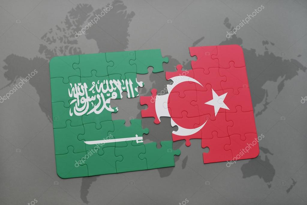 puzzle with the national flag of saudi arabia and turkey on a world ...
