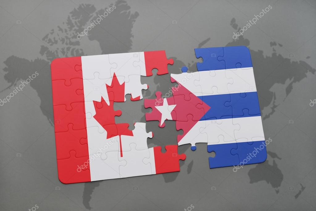 Puzzle with the national flag of canada and cuba on a world map puzzle with the national flag of canada and cuba on a world map background gumiabroncs Images