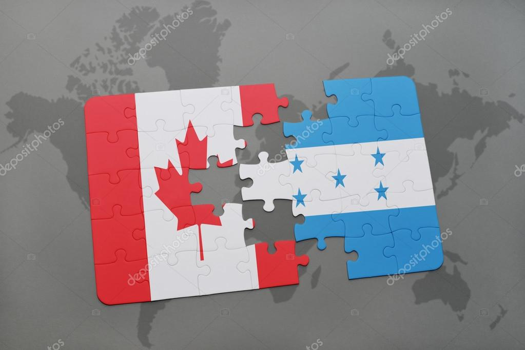 Puzzle with the national flag of canada and honduras on a world map puzzle with the national flag of canada and honduras on a world map background 3d illustration foto de ruletkka gumiabroncs