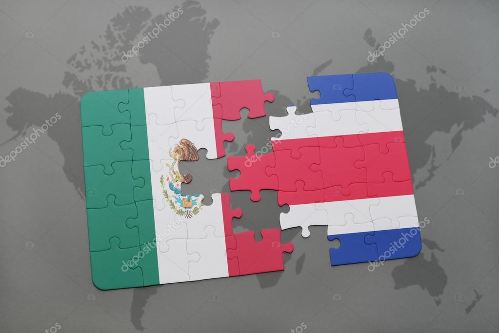Puzzle with the national flag of mexico and costa rica on a world puzzle with the national flag of mexico and costa rica on a world map background 3d illustration foto de ruletkka gumiabroncs