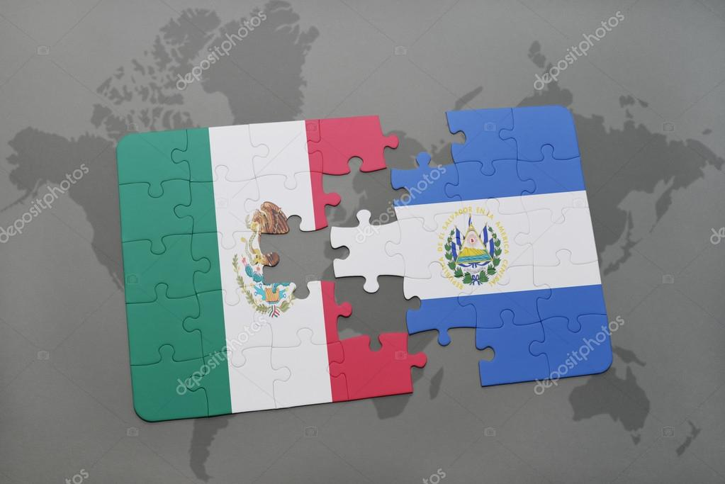 puzzle with the national flag of mexico and el salvador on a world
