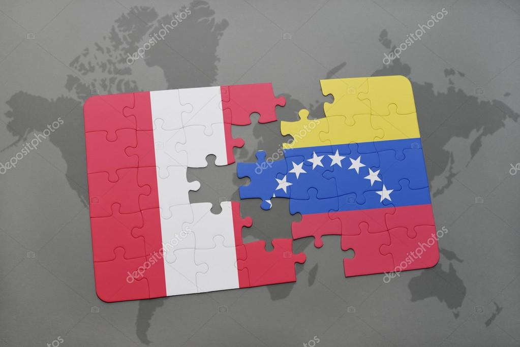 Puzzle with the national flag of peru and venezuela on a world map puzzle with the national flag of peru and venezuela on a world map background 3d illustration foto de ruletkka gumiabroncs Gallery