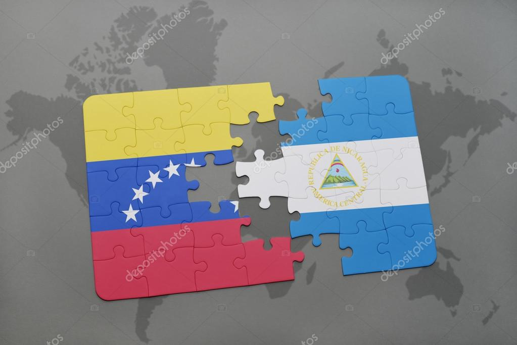 Puzzle with the national flag of venezuela and nicaragua on a world puzzle with the national flag of venezuela and nicaragua on a world map background 3d illustration foto de ruletkka gumiabroncs Gallery