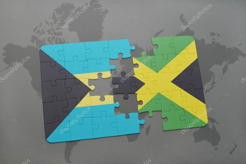 Puzzle with the national flag of bahamas and jamaica on a world map puzzle with the national flag of bahamas and jamaica on a world map background gumiabroncs Images