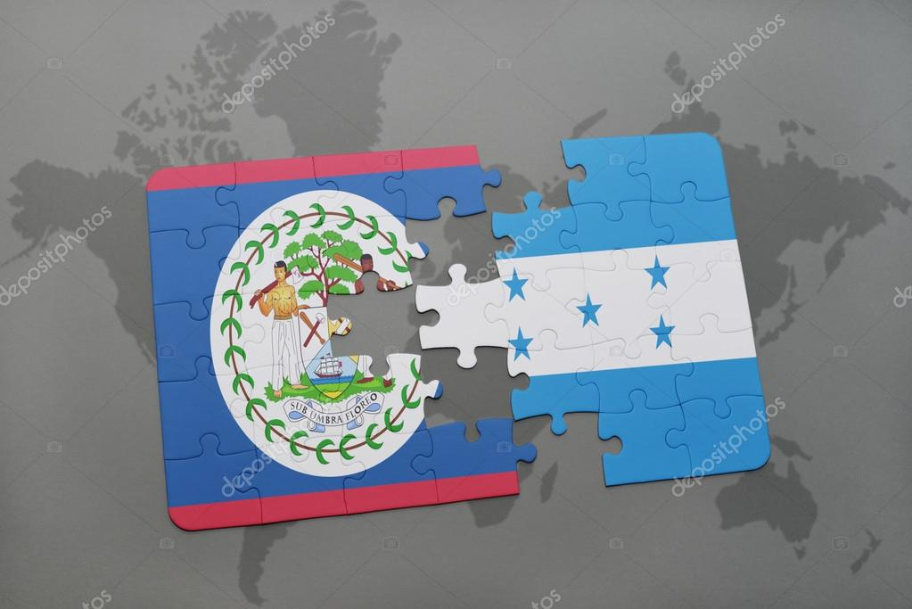 puzzle with the national flag of belize and honduras on a world map ...