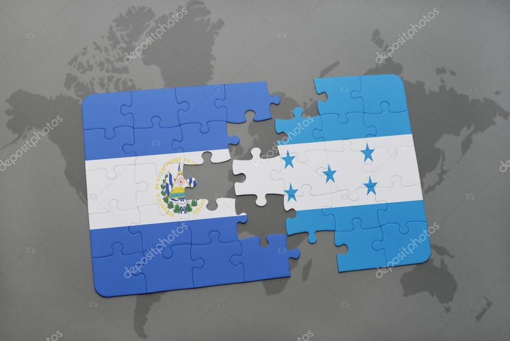 Puzzle with the national flag of el salvador and honduras on a world puzzle with the national flag of el salvador and honduras on a world map background gumiabroncs Image collections