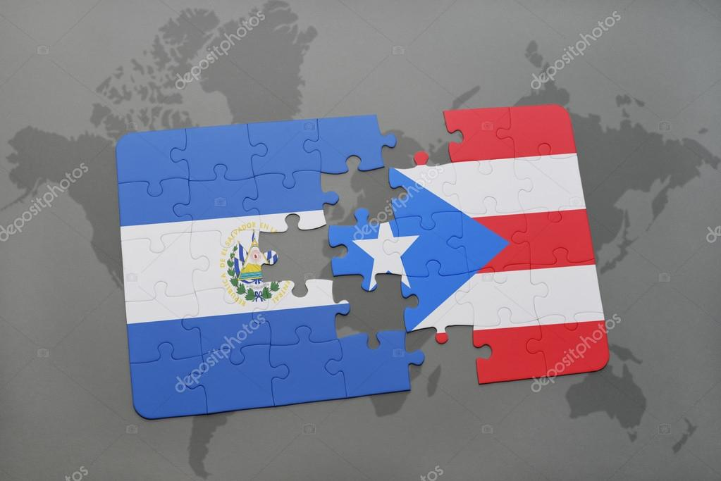 puzzle with the national flag of el salvador and puerto rico on a ...