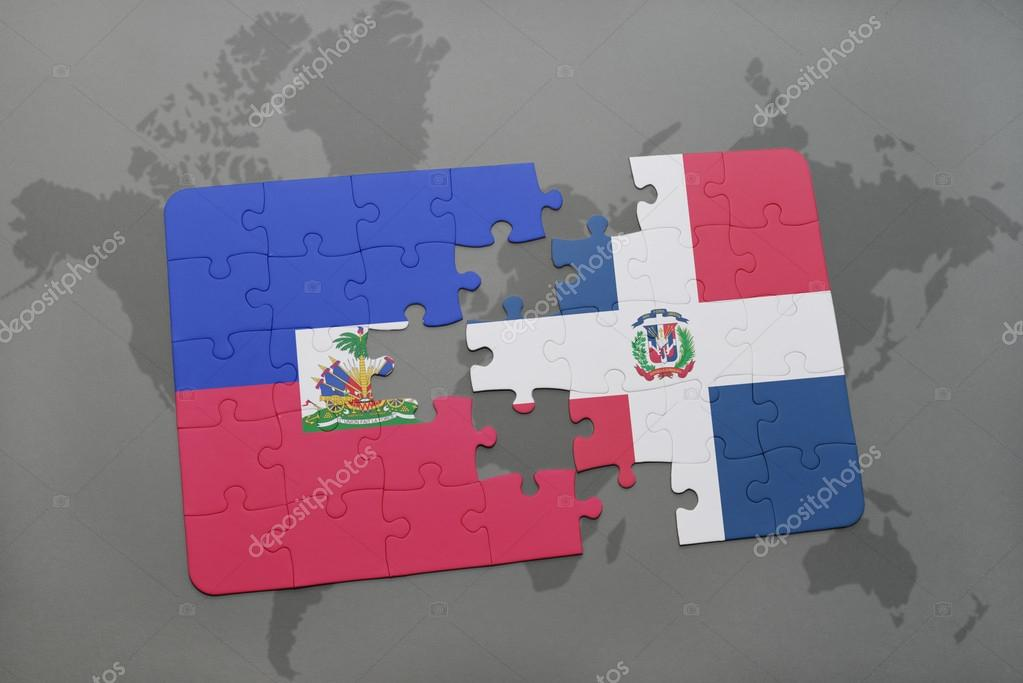 Puzzle with the national flag of haiti and dominican republic on a puzzle with the national flag of haiti and dominican republic on a world map background gumiabroncs Choice Image
