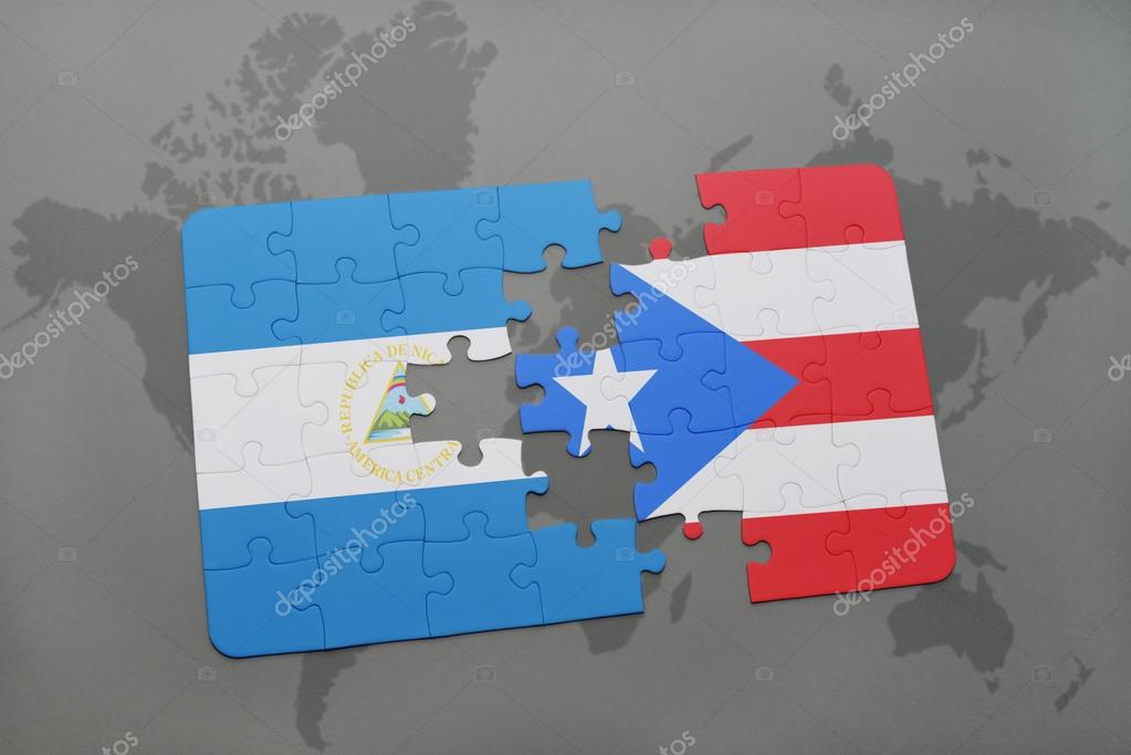 Puzzle with the national flag of nicaragua and puerto rico ...