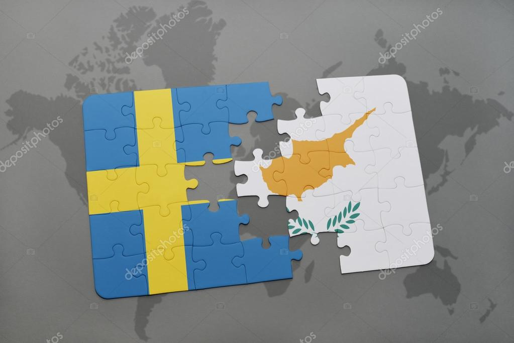 Puzzle with the national flag of sweden and cyprus on a world map puzzle with the national flag of sweden and cyprus on a world map background gumiabroncs Image collections
