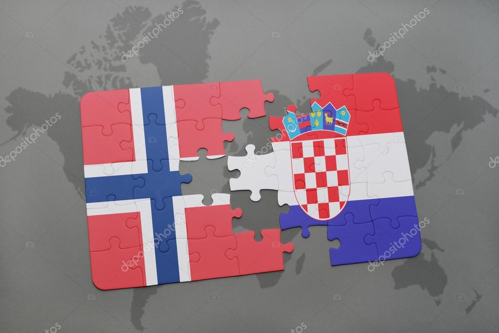 Puzzle with the national flag of norway and croatia on a world map puzzle with the national flag of norway and croatia on a world map background gumiabroncs Images