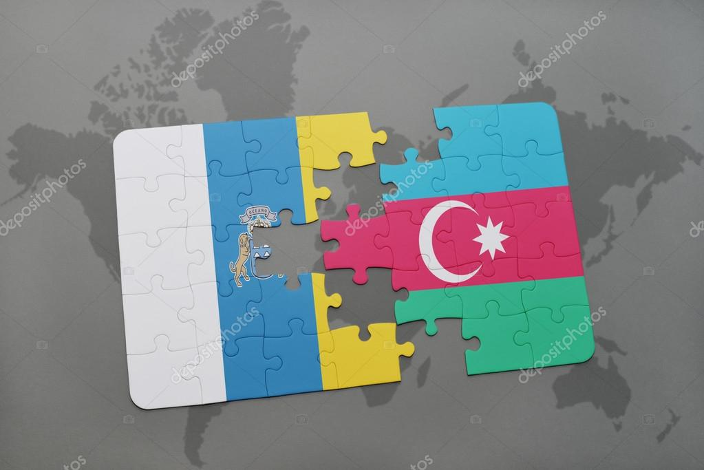 Puzzle with the national flag of canary islands and azerbaijan on a puzzle with the national flag of canary islands and azerbaijan on a world map background gumiabroncs Images