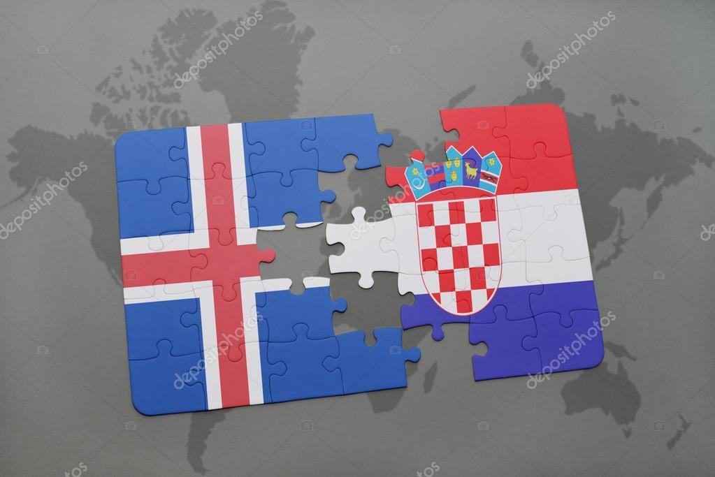 puzzle with the national flag of iceland and croatia on a world map ...