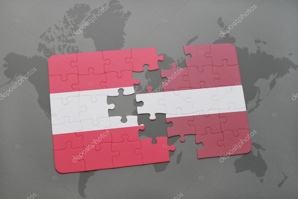 Puzzle with the national flag of austria and latvia on a world map puzzle with the national flag of austria and latvia on a world map background 3d illustration foto de ruletkka gumiabroncs