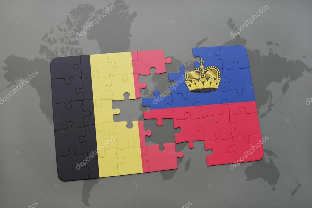 Puzzle With The National Flag Of Belgium And Liechtenstein On A