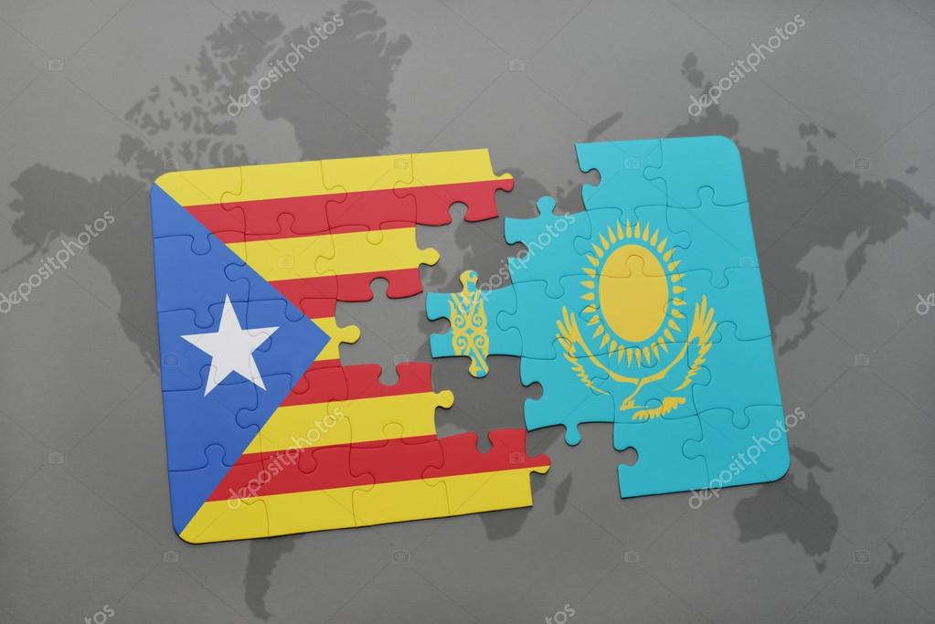 Puzzle With The National Flag Of Catalonia And Kazakhstan On A World