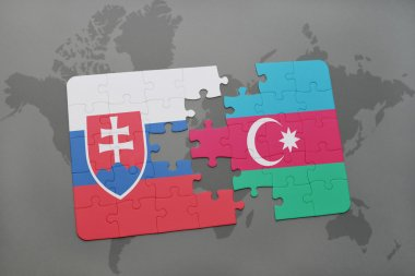 puzzle with the national flag of slovakia and azerbaijan on a world map background.