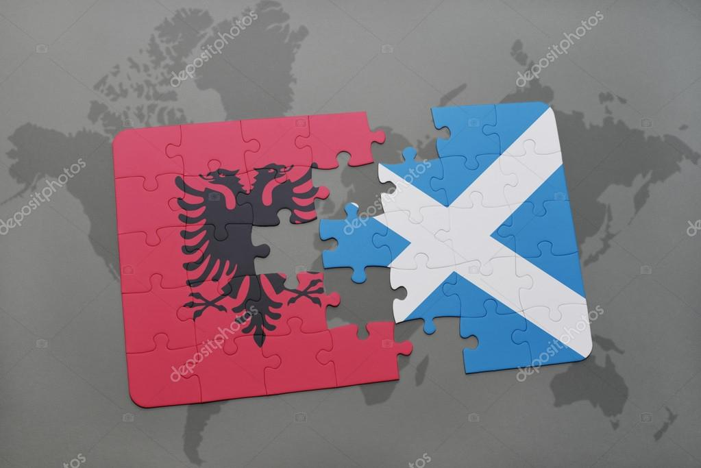 Puzzle with the national flag of albania and scotland on a world map puzzle with the national flag of albania and scotland on a world map background gumiabroncs Choice Image