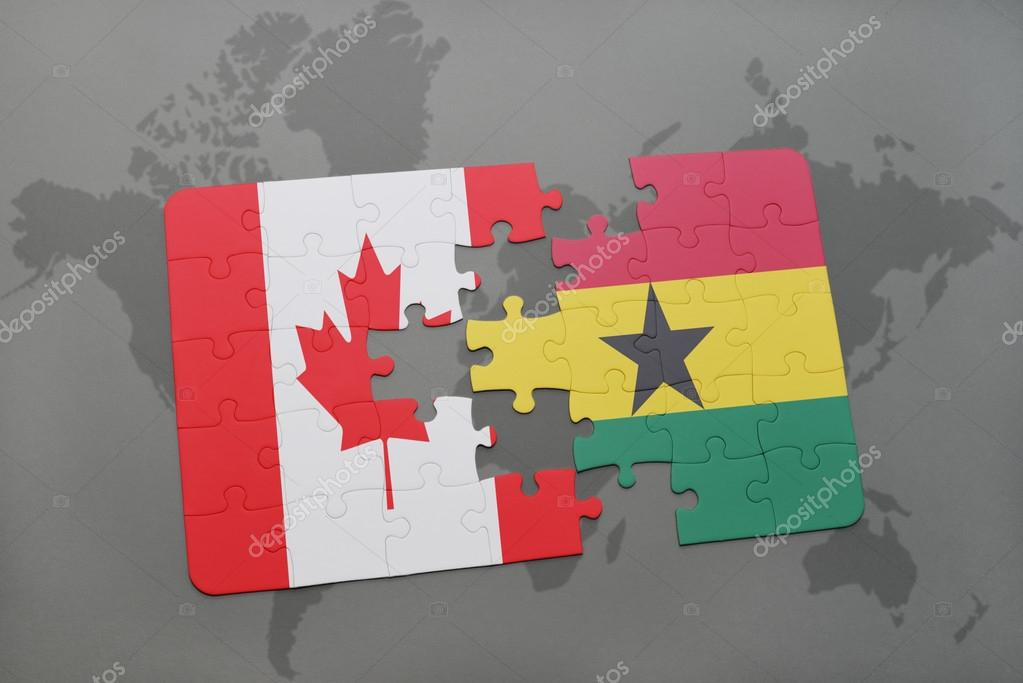 Puzzle with the national flag of canada and ghana on a world map puzzle with the national flag of canada and ghana on a world map background 3d illustration foto de ruletkka gumiabroncs Gallery