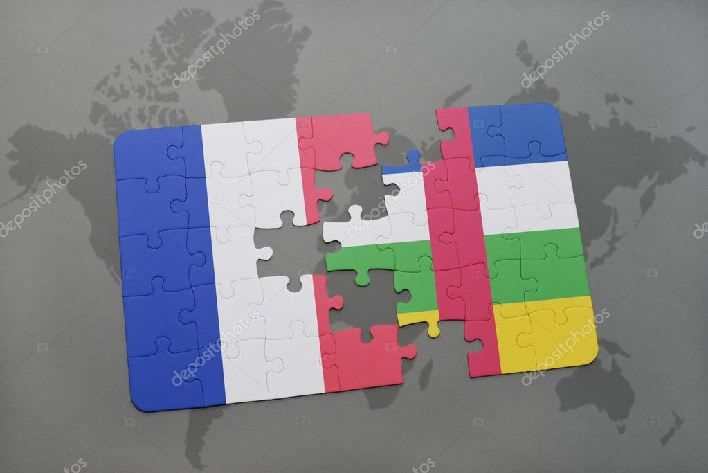 Puzzle with the national flag of france and central african republic puzzle with the national flag of france and central african republic on a world map background gumiabroncs Gallery