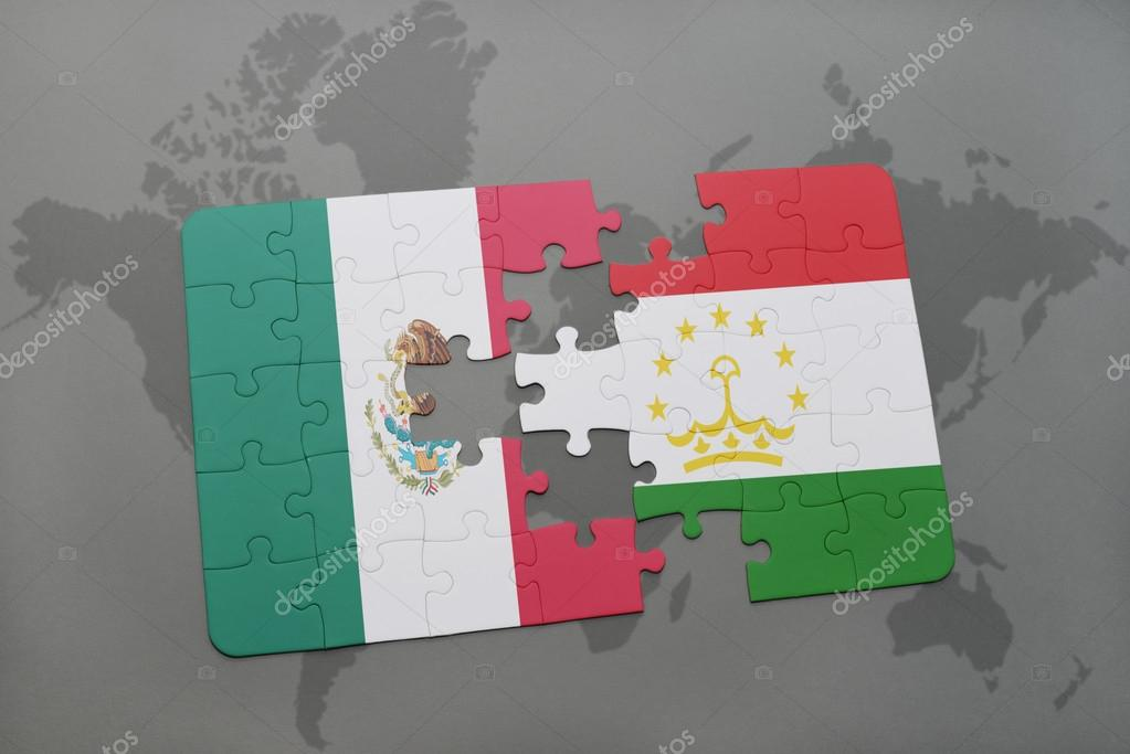 Puzzle with the national flag of mexico and tajikistan on a world puzzle with the national flag of mexico and tajikistan on a world map background 3d illustration foto de ruletkka gumiabroncs