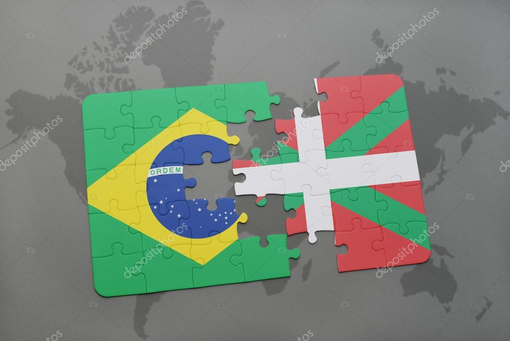 Puzzle with the national flag of brazil and basque country on a puzzle with the national flag of brazil and basque country on a world map background gumiabroncs Choice Image