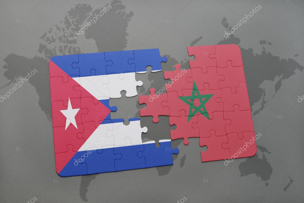 Puzzle with the national flag of cuba and morocco on a world map puzzle with the national flag of cuba and morocco on a world map background gumiabroncs Image collections