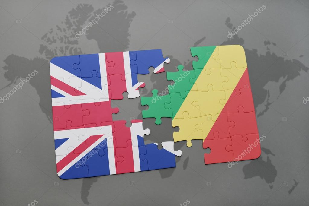 puzzle with the national flag of great britain and republic of the
