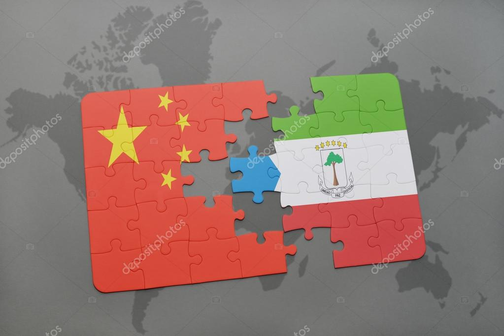 Puzzle with the national flag of china and equatorial guinea on a puzzle with the national flag of china and equatorial guinea on a world map background 3d illustration foto de ruletkka gumiabroncs Image collections