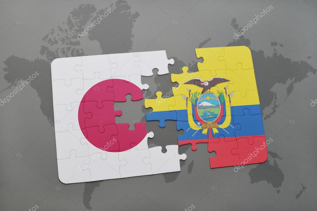 Puzzle with the national flag of japan and ecuador on a world map puzzle with the national flag of japan and ecuador on a world map background gumiabroncs Images