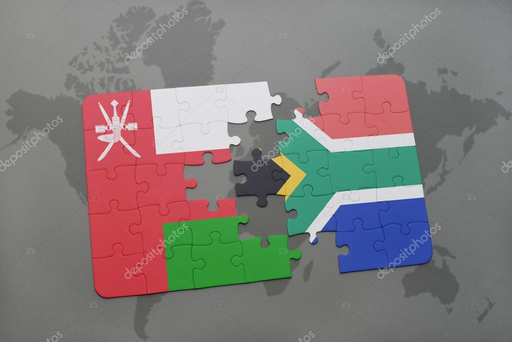 Puzzle with the national flag of oman and south africa on a world puzzle with the national flag of oman and south africa on a world map background gumiabroncs Choice Image
