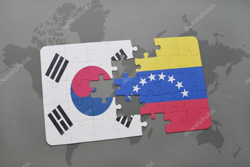 Puzzle with the national flag of south korea and venezuela on a puzzle with the national flag of south korea and venezuela on a world map background gumiabroncs Image collections