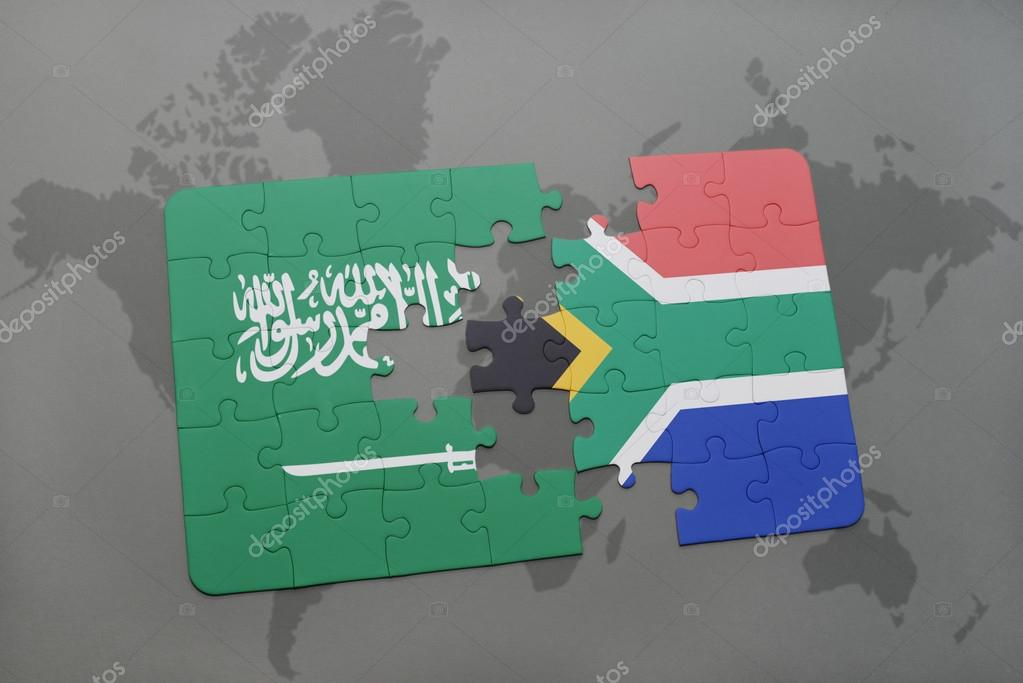 Puzzle with the national flag of saudi arabia and south africa on puzzle with the national flag of saudi arabia and south africa on a world map background gumiabroncs Choice Image