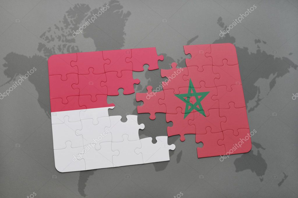 Puzzle with the national flag of indonesia and morocco on a world puzzle with the national flag of indonesia and morocco on a world map background 3d illustration foto de ruletkka gumiabroncs
