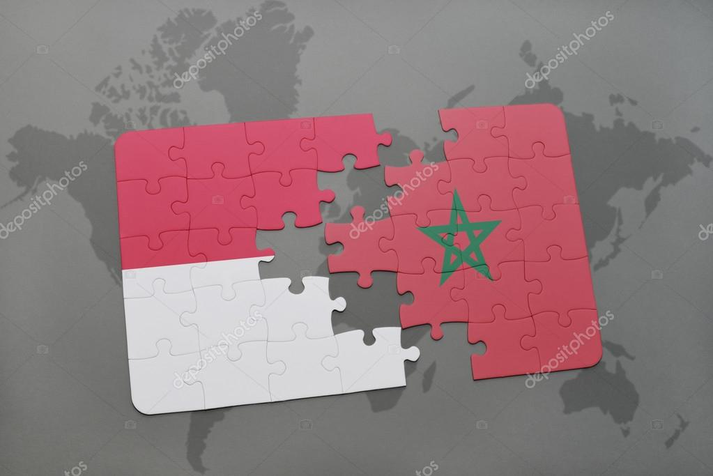 Puzzle with the national flag of indonesia and morocco on a world puzzle with the national flag of indonesia and morocco on a world map background 3d illustration foto de ruletkka gumiabroncs Image collections