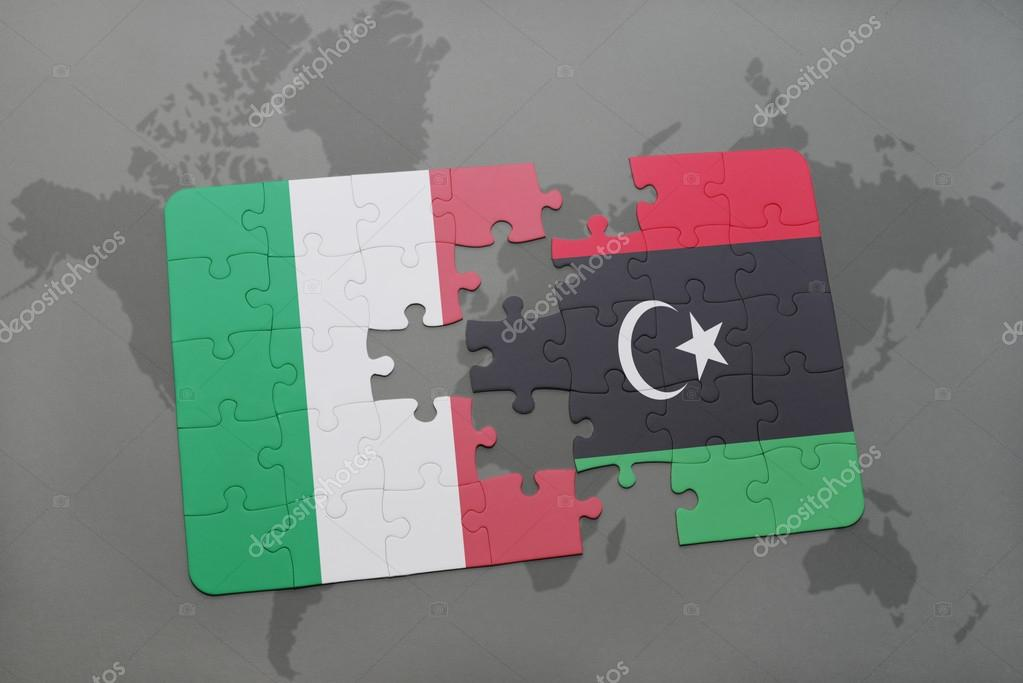 Puzzle with the national flag of italy and libya on a world map puzzle with the national flag of italy and libya on a world map background gumiabroncs Images