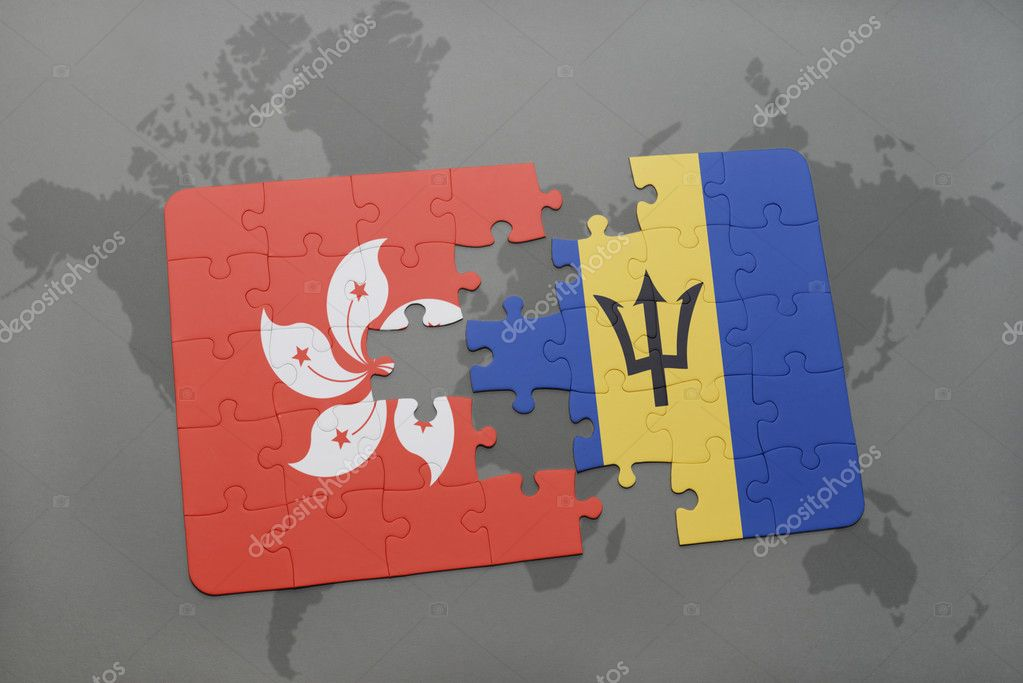 Фотообои puzzle with the national flag of hong kong and barbados on a world map background.