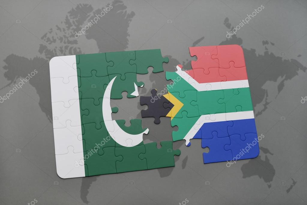 Puzzle with the national flag of pakistan and south africa on a puzzle with the national flag of pakistan and south africa on a world map background gumiabroncs Choice Image