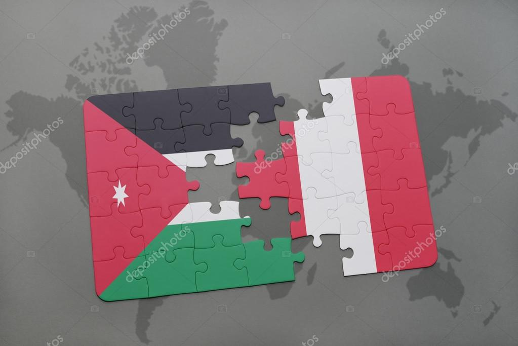 Puzzle with the national flag of jordan and peru on a world map puzzle with the national flag of jordan and peru on a world map background gumiabroncs Images