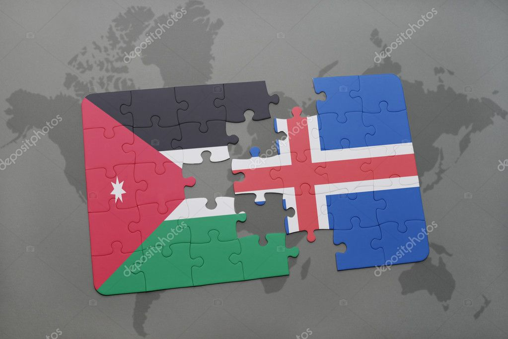 Puzzle with the national flag of jordan and iceland on a world map puzzle with the national flag of jordan and iceland on a world map background gumiabroncs Images