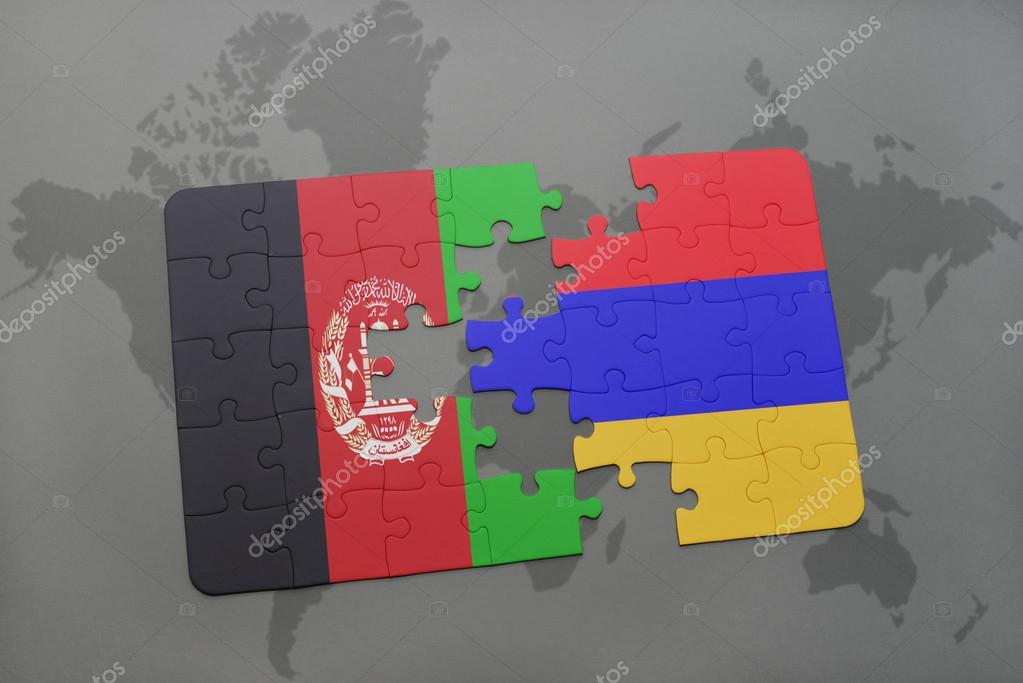 Puzzle with the national flag of afghanistan and armenia on a world puzzle with the national flag of afghanistan and armenia on a world map background 3d illustration foto de ruletkka gumiabroncs