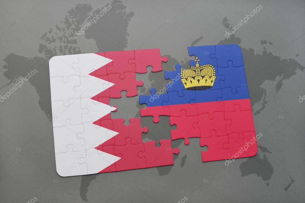 Puzzle With The National Flag Of Bahrain And Liechtenstein On A