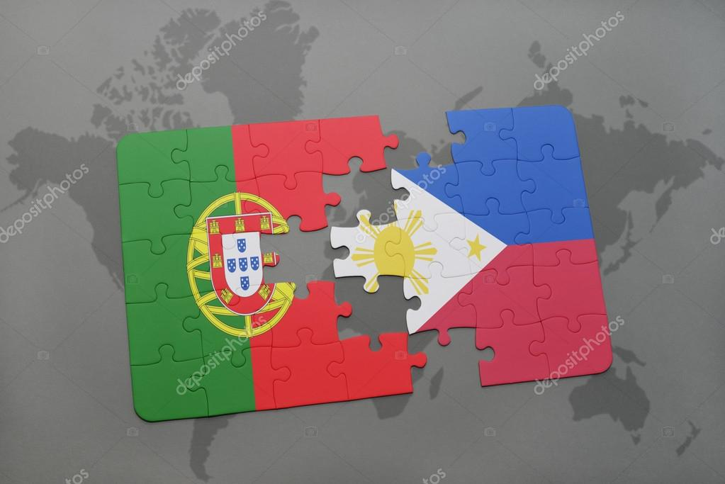Puzzle with the national flag of portugal and philippines on a world puzzle with the national flag of portugal and philippines on a world map background 3d illustration foto de ruletkka gumiabroncs Image collections