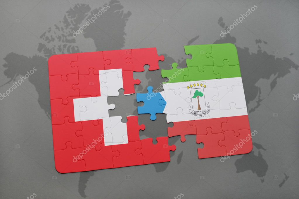 puzzle with the national flag of switzerland and equatorial guinea ...