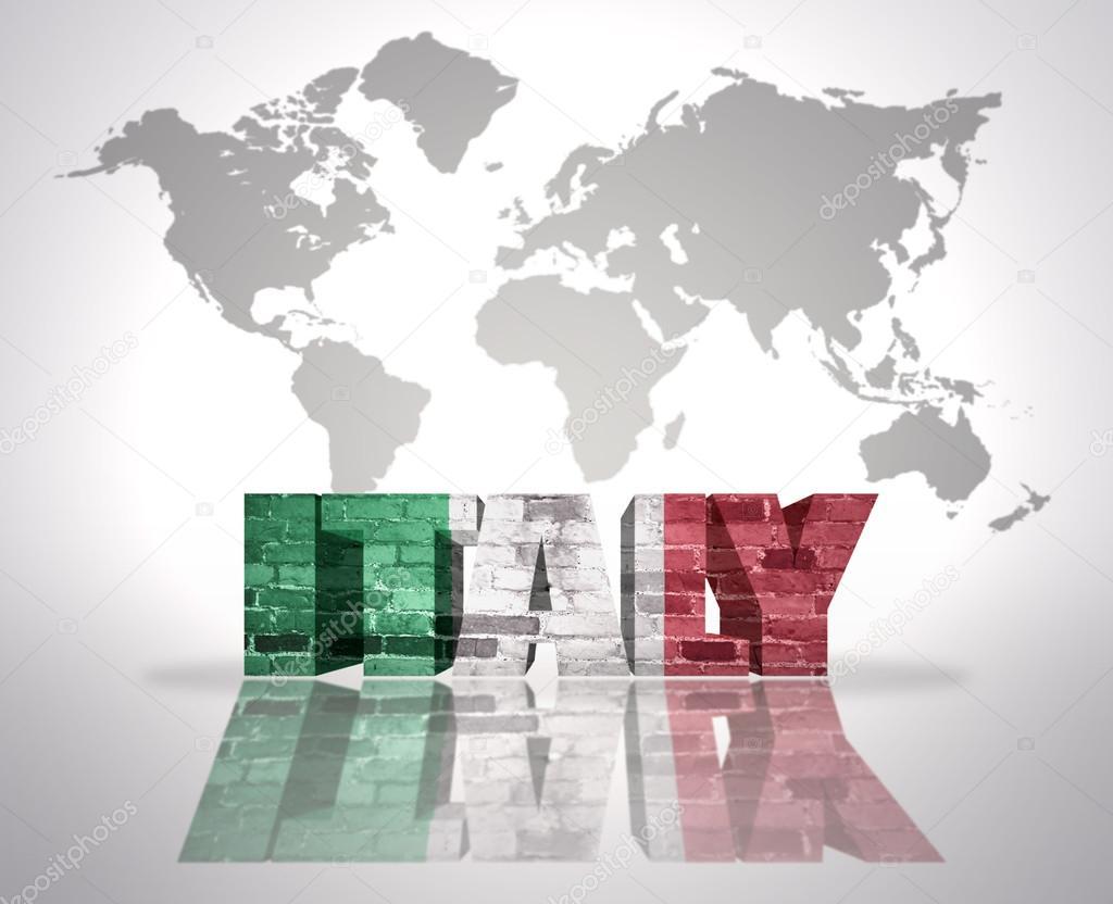 La palabra italia en un fondo de mapa del mundo fotos de stock word italy with italian flag on a world map background foto de ruletkka gumiabroncs Image collections
