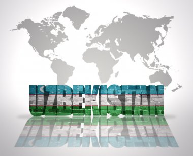 Word Uzbekistan on a world map background