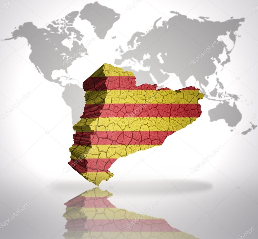 map of catalonia on a world map background stock photo