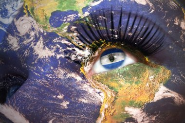 womans face with planet Earth texture and salvadoran flag inside the eye